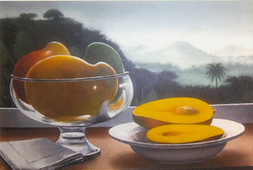 east indian mangoes in glass bowl against a landscape