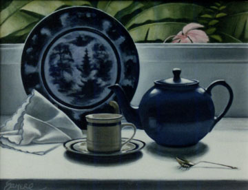 tea pot and babana leaves