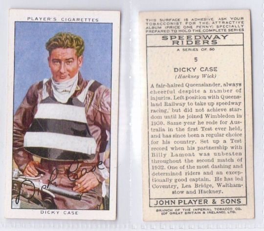 Dicky Case Players Cigarette Card