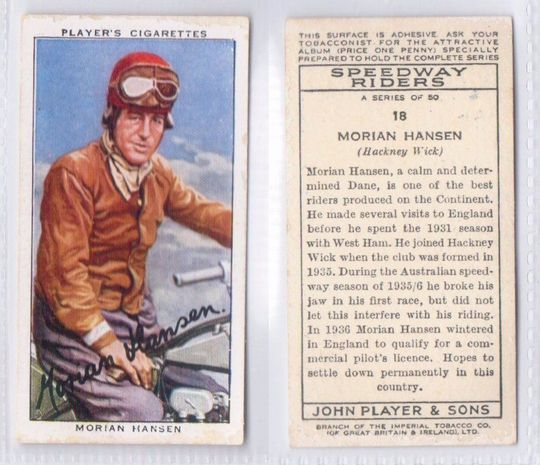 Morain Hansen Players Cigarette Card