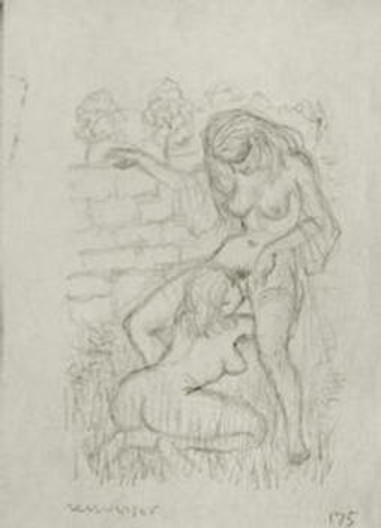 "EROTIC BOOKPLATE: The ORIGINAL Pencil Drawing (actual size) SIGNED by MARK SEVERIN, mounted on the title of ""Modern Erotic Bookplates"" by Luc Van den Briele (1999)"