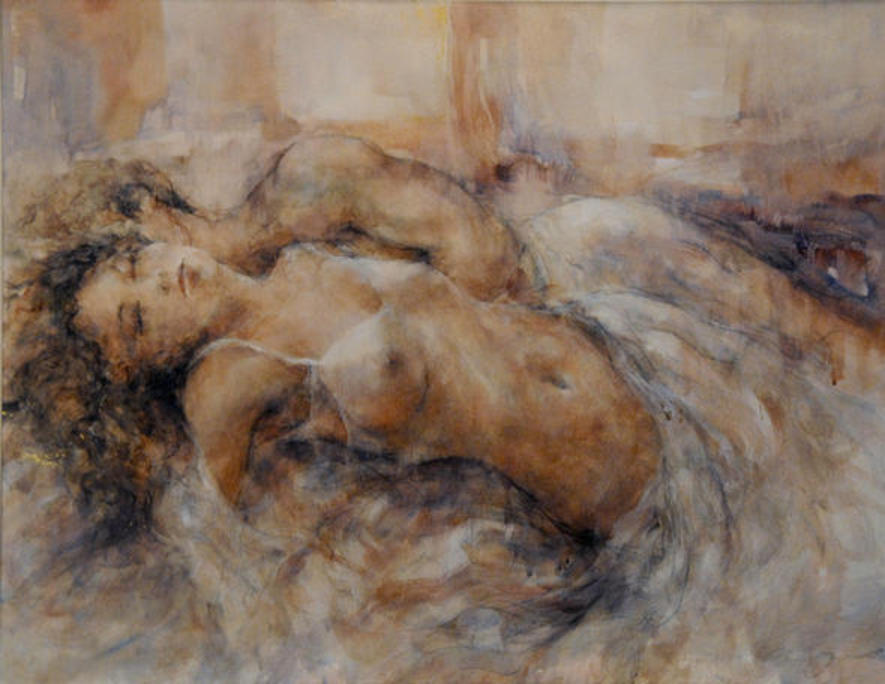 """Abandon"" by GARY BENFIELD - an original ""mixed media"" composition, inc. pencil, pastel, watercolour, and GOLDLEAF!"
