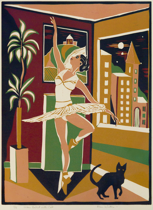 """URBAN BALLET WITH CAT"" - An Original Linocut, number 8 of 9 only, signed by ALAN WHITE"
