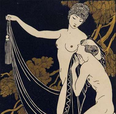 "New in ""FFA, Part 3"" - An ORIGINAL POCHOIR, Printed in BLACK and GOLD, from ""DIX-SEPT DESSINS SUR LE CANTIQUE DES CANTIQUES"" [The Song of Songs], Paris, 1914, by GEORGE BARBIER,"