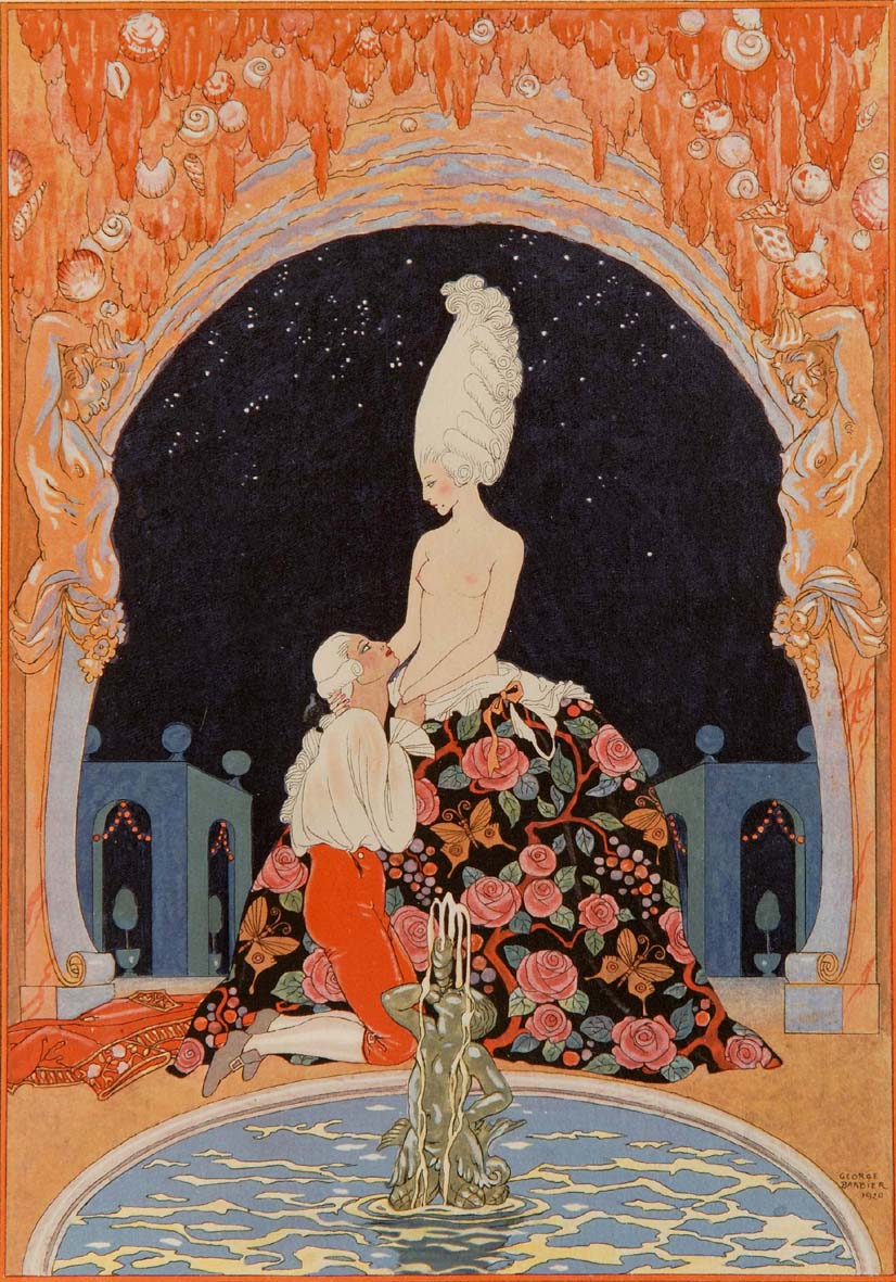 """Casanova brings a blush to her cheek"" - original coloured ""pochoir"" stencil by GEORGE BARBIER, from ""LA GAZETTE DE BON TON"", c. 1925"