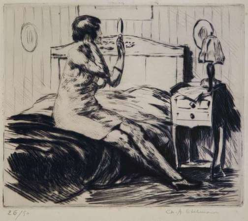 "New in ""FFA"", Part 3 - ""GETTING READY IN THE BOUDOIR"" - An Original Engraving, one of 50, signed by CHARLES A. EDELMAN"