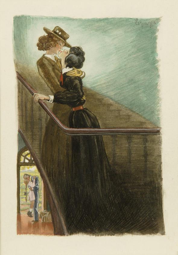 """""""Claudine en Menage"""" by COLETTE (Paris, Albin Michel, 1931) - THE ORIGINAL WATERCOLOUR  by GEORGE LEPAPE, illustrating p. 68"""