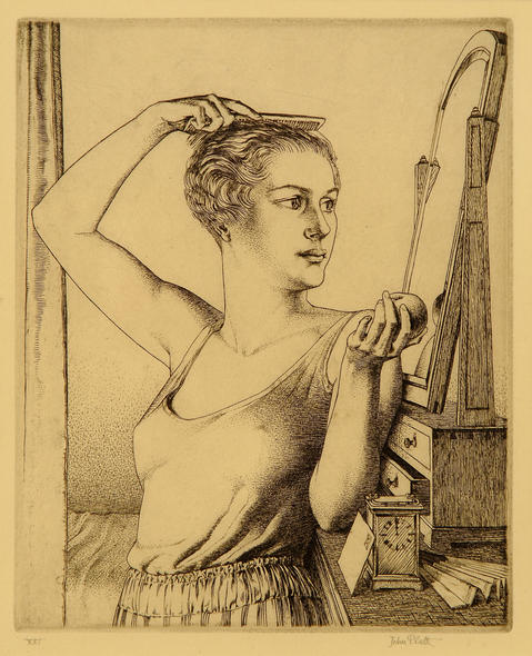 """""""Halloween"""" (also known as """"Youth"""" or """"The Mirror""""). Limited edition wood-engraving (One of 21 ONLY) signed by JOHN PLATT, 1929"""