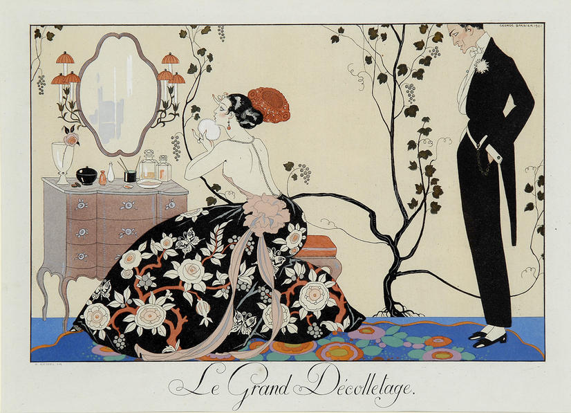 """""""COME on, Daaarling ..."""" (""""Le Grand Decolletage"""") Original hand-coloured """"pochoir"""" plate by GEORGES BARBIER"""