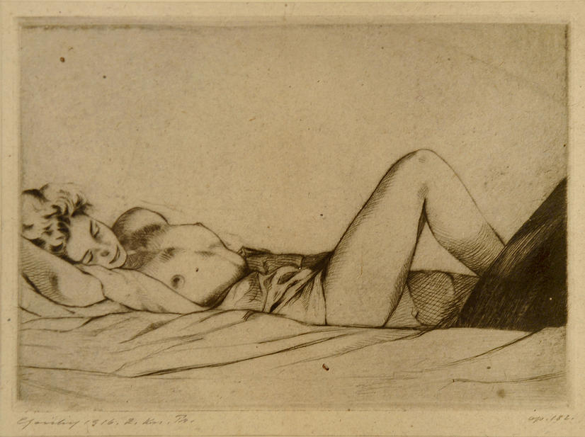 """""""Satisfaction"""" (?) Unique dry-point etching on heavy gray paper, SIGNED by (?) """"Epansky"""" and dated 1916"""