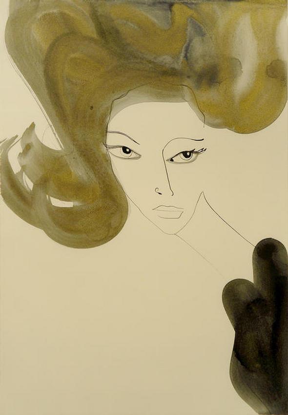 """Sophia Loren"" Original pen, ink, and gold leaf wash by TANYA LING"