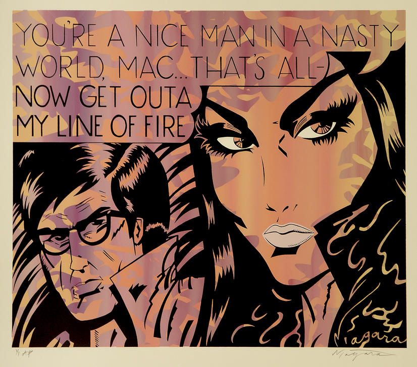 """""""You're a nice guy in a nasty world, Mac ... Now get out of my line of fire!"""" UNIQUE SCREENPRINT in this colour combination, 1/1 signed by """"NIAGARA"""""""
