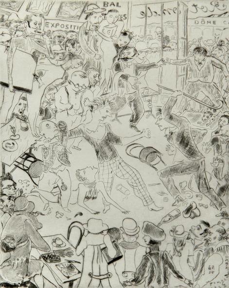 """Paris Cafe Brawl"" from ""Tableau de Paris"", 1927 - an ORIGINAL ENGRAVING, limited to 250 Copies, by Tsuguharu  FOUJITA"