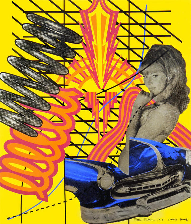 """""""Girl meets Hot Rod"""" ARTIST'S PROOF silkscreen on metallic paper, dated 1965, signed by PETER PHILLIPS"""