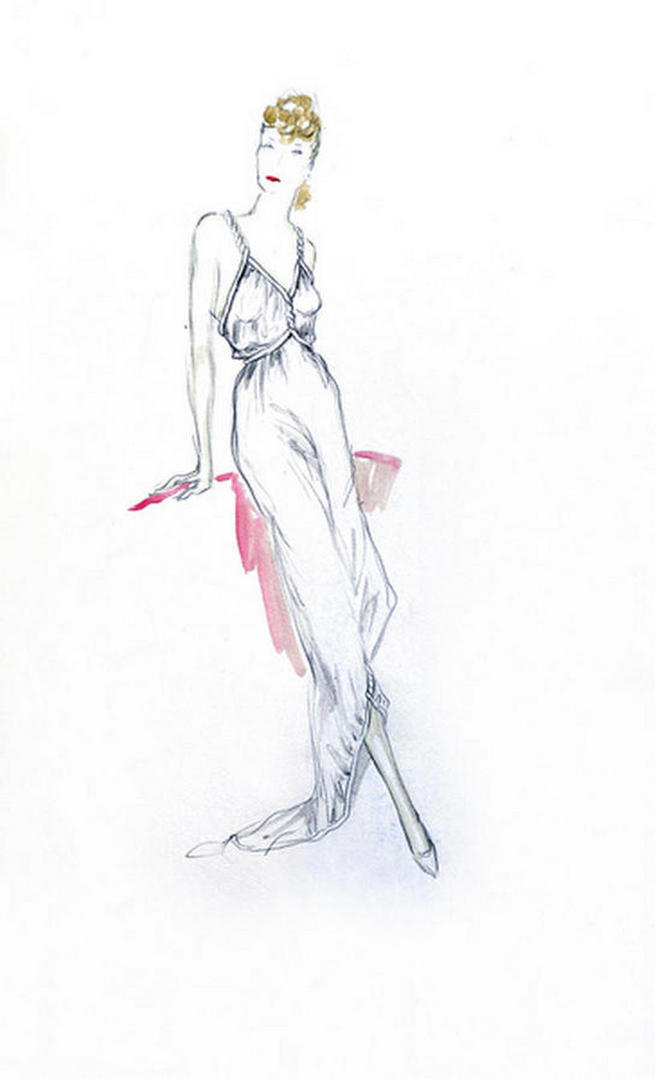 Original pen, ink and wash Fashion Drawing by Ernst Dryden.