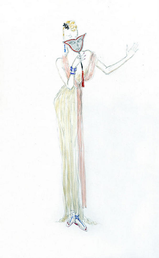 Original pen-ink and wash Fashion Drawing by Ernst Dryden.