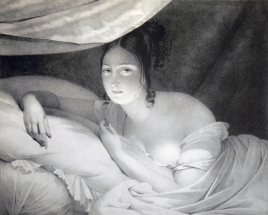 """Soft Awakening"" - an original mezzotint by and after ÉDOUARD LOUIS DUBUFE (1820-1883)"