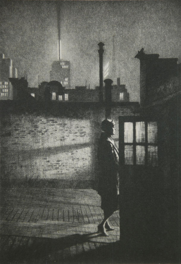 """Little Penthouse"" - drypoint limited to 84 copies only by MARTIN LEWIS, 1931"