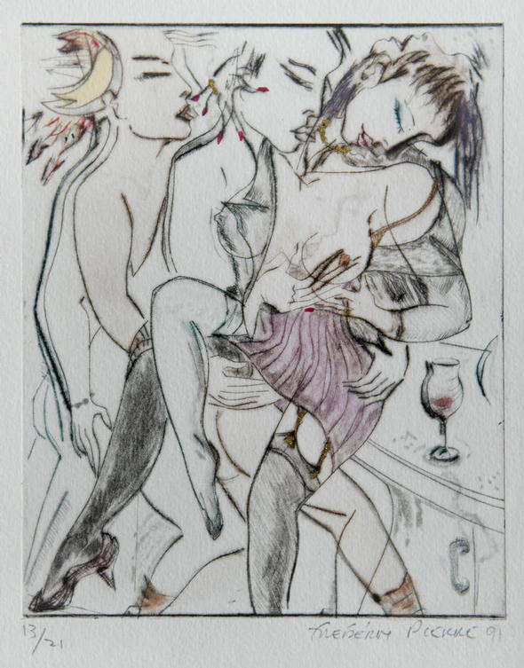 """Meme Les Dieux ont Envie de Toi"" [""Even The Gods Want You""] - limited edition EROTIC dry-point by FREDERIC PIERRE, with hand-colouring and gold highlights, ONE OF 21 COPIES ONLY (one from the complete suite of 5 illustrated)"