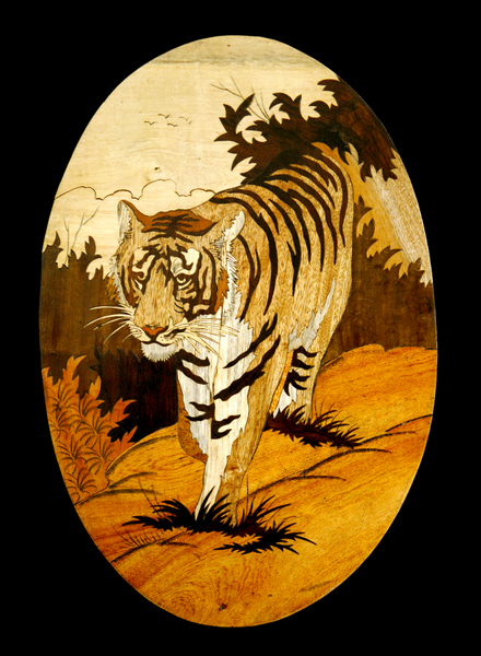 "A Superb ""Art Deco"" Marquetry Tiger, c. 1930. (MORE DETAILS BELOW). PRICE:"