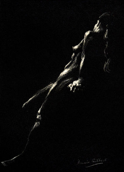 """Reclining Goddess"" by DENNIS GILBERT NEAC - an original chalk drawing on black paper"