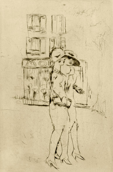 """Streetwalkers"" - An original dry-point etching by PIERRE BONNARD"