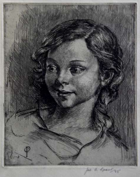 """Sparkling Youthful Innocence""  - An Original Etching by JAMES ARDEM GRANT, RP ARE (1887-1973)"