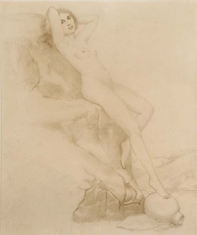 """A Brazen Look"" - original unattributed 19th Century EROTIC pencil drawing"