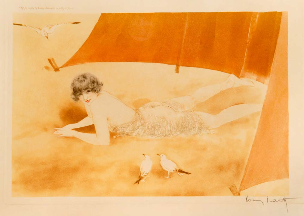 """Sur La Sable"" by LOUIS ICART, final PROOF limited edition aquatint, SIGNED in pencil, and INSCRIBED beneath the mount in Pencil by ICART: ""C'est bon pour 350 exemplaires. Louis Icart"""