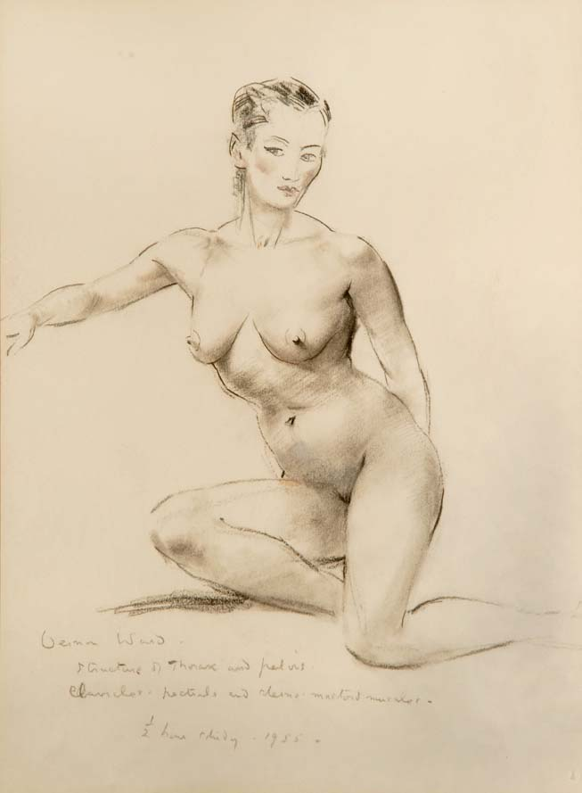"""Gay, as I imagine her to be"" - original pencil sketch by VERNON WARD, 1955. SOLD."