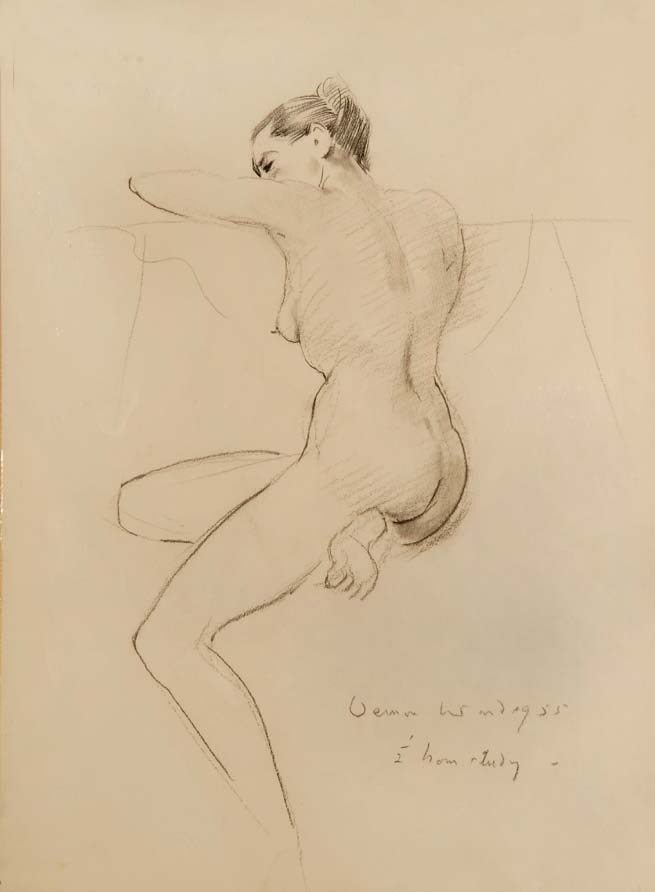"""Relaxed"" - original pencil drawing by VERNON WARD, 1955. SOLD."