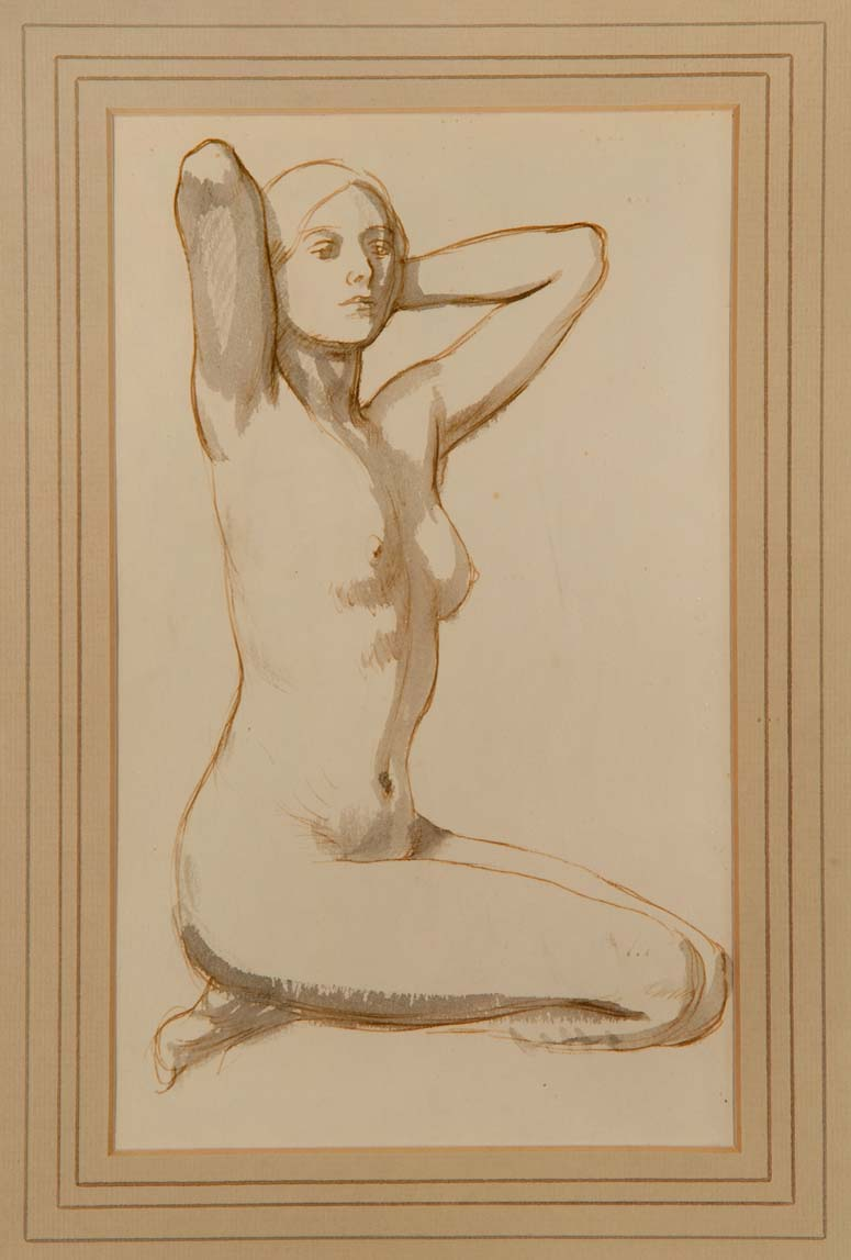 """""""THE PERFECT BODY"""" - Original Pen, Ink, and Wash by RANDOLPH SCHWABE, c. 1931"""