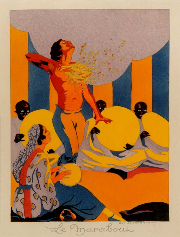 """""""The Fire Dancer"""" (1of 4 hand-stencilled """"pochoirs"""" from """"Quatre Impressions Arabes"""" by GUINEGAULT (c. 1925)"""