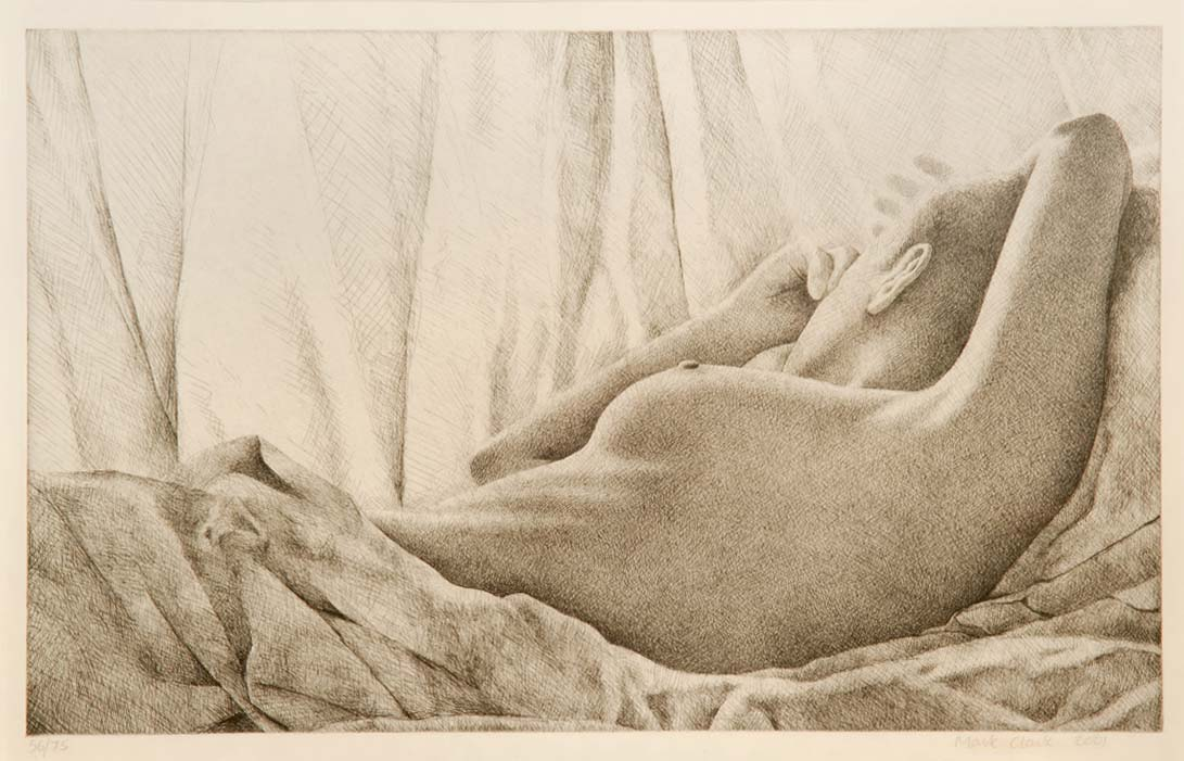 """Sally Reclining""  Limited edition dry-point etching (one of 75 only) SIGNED by MARK CLARK"