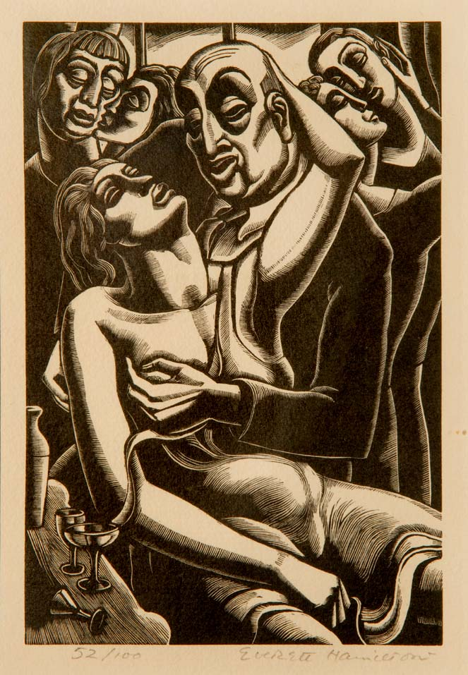 """""""Lust"""" from """"The Seven Deadly Sins"""" - an original woodcut by Everett HAMILTON, Cagnes, c. 1930"""