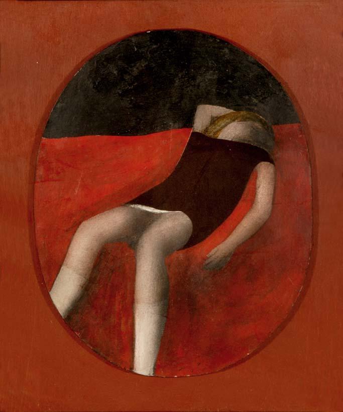 """The Velvet Dress"" [Hommage to Balthus] - an  Original mixed media (oil paint, and black velvet) on panel by Lewin BASSINGTHWAITE"