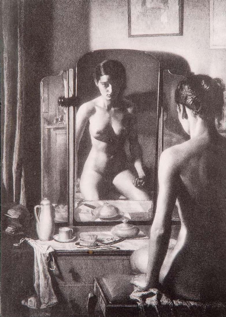 """Adolescence"" - Mezzotint by Gerald BROCKHURST"