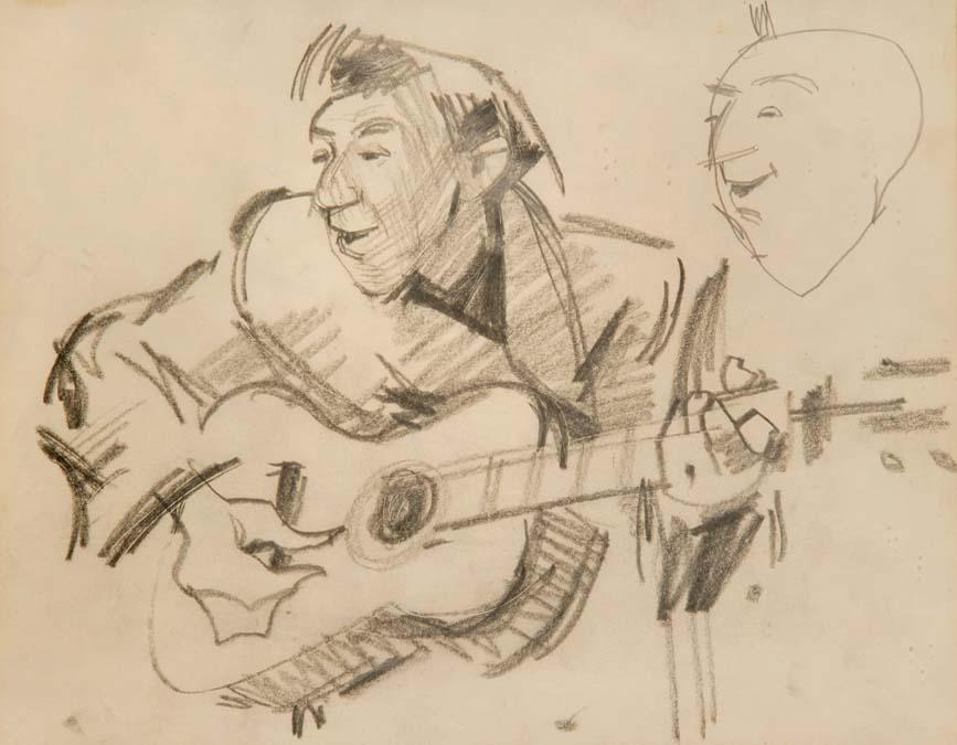 """Guitar Player, at """"The Troubadour""""by  Robert LENKIEWICZ"""