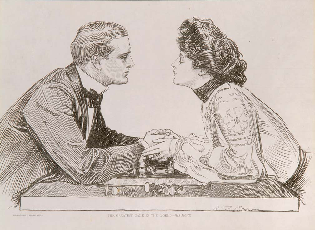 """""""The Greatest Game in The World: His Move"""" - Engraving by Charles Dana ANDREWS"""