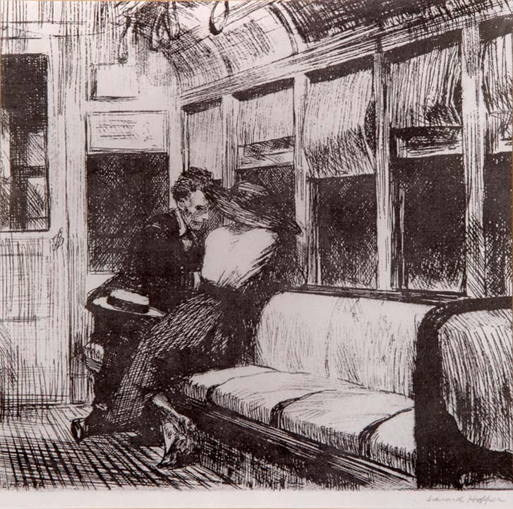 """""""On The El"""" - after an original engraving by Edward HOPPER"""