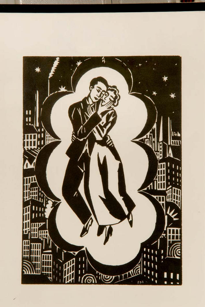 """""""Floating in The Bubble of Their Love"""" - Woodcut after Franz MASEREEL"""
