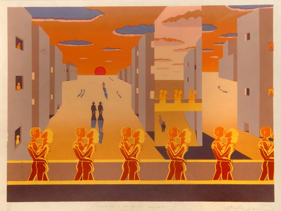 """""""Lovers on a Bridge at Sunset"""" - limited to 40 copies only, original silkscreen by David Wynn MILLWARD"""