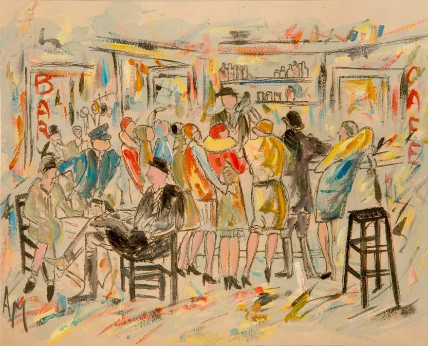 """In The Bar"" - original sketch by Albert MEURICE"