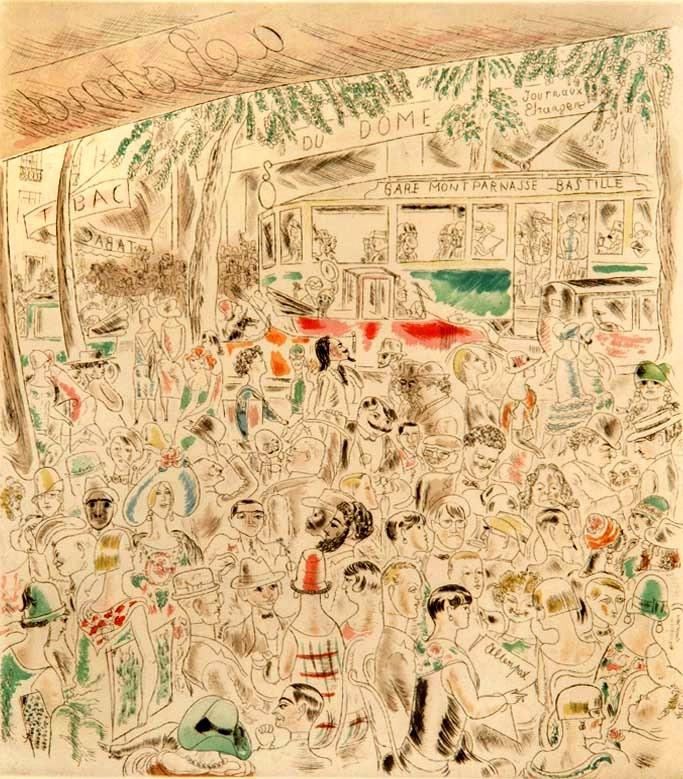 """Paris Cafe"" - Original HAND-COLOURED ENGRAVING by Charles LABORDE"