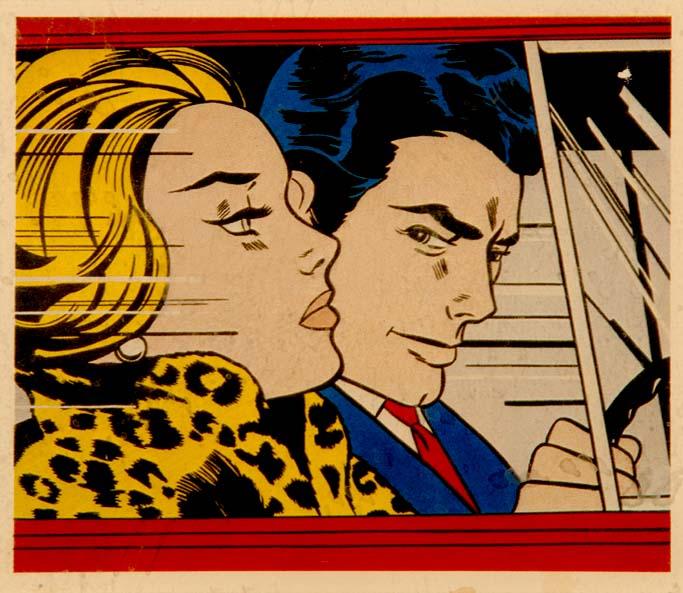 """""""In The Car"""" [""""Wait till I get her home ...""""] by Roy LICHTENSTEIN"""