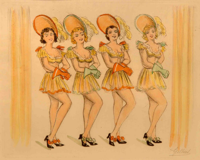 """The Chorus Line"": an original hand-stencilled ""pochoir"" by ""Gilbert"", circa 1920, mounted. PRICE:"