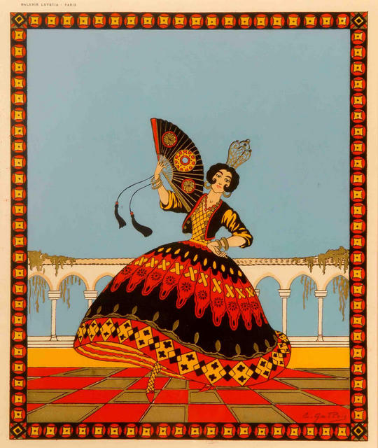 """Dancing Around The World - Spain"", an original hand-stencilled ""pochoir"" plate, c. 1935, by E. Gallois, mounted. PRICE:"