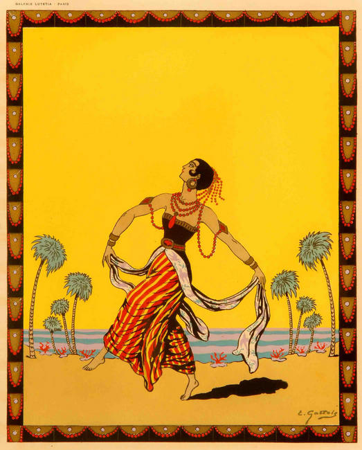 """Dancing Around The World - India"", an original hand-stencilled ""pochoir"" plate by E. Gallois, c. 1935, mounted. PRICE:"