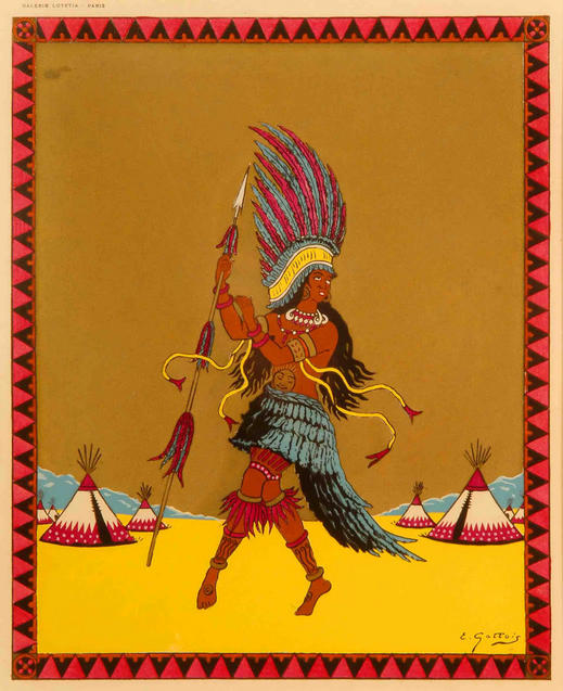 """Dancing Around The World - America"", an original hand-stencilled ""pochoir"" plate by E. Gallois, c. 1935,mounted. PRICE:"