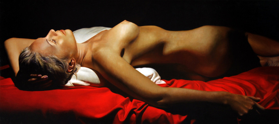 """KATIA RECLINING"" - An Original Oil by TOBY BOOTHMAN"